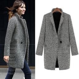 2014 Design New Spring Winter women wool coat Grey Medium Long Plus Size warm wool European Fashion overcoat