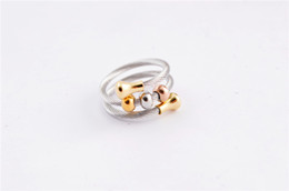 Wholesale New fashion silver rose gold beads clasp multilayer twist stainless steel cable wrap rings jewelry for men women SR0546