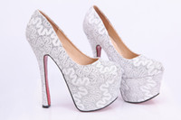 Cheap Bridal Pump Lace Wedding Shoes Sparkling Silver Prom Shoes with High Heel Ankle Boot Cut-Outs Lace Wedge Evening Shoes Bridal Shoes 2014