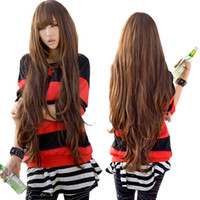 Wholesale S5Q Women s Ladies Long Curly Wig Wavy Hair Brown Supple Full Wigs Cosplay Party AAADJY