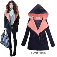 Cheap 2014 new women wool coat slim woolen overcoat with hood outerwear red green blue plus size