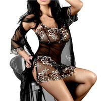 Wholesale S5Q Women s Embroidered Sheer Perspective Strapless Lingerie Babydoll Chemise AAADJQ