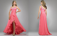 Cheap 2014 Sexy A-line Spaghetti straps Sweetheart Side of the split Rhinestone Beaded Pleated Chiffon Pageant Celebrity Party Dresses Gowns G688