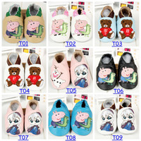Wholesale 2014 New Baby Frozen Walking Shoes Infant Toddler Peppa Pig Animal Soft Sole Leather Shoes Cow Leather T Choose Color amp Size Free