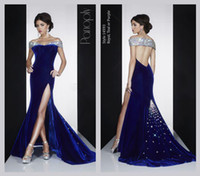 blue prom dresses - New Navy Blue Velvet Prom Dress Sexy Sweetheart Neckline Backless MAC DUGGA Evening Gowns Off shoulder Crystal Beaded Beads Dresses