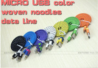 Wholesale Noodle Braided Micro USB Cable Sync Data Charging m m m Cord Flat Woven Fabric Dual Colors for Samsung Galaxy S3 S4 S5 HTC Blackberry