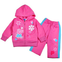 Wholesale 2014 New Arrival Kids Girls Peppa Pig Cartoon Long Sleeve With Hood Coat Pants Set Polyester Sweat Suit Child Tracksuit J0360