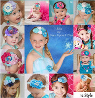 Wholesale Hot Infant baby girl Frozen headbands shabby flower tiaras Elsa snowflake hair bows glitter headband party hair jewelry Photography props