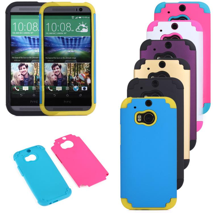 Buy Design Cell Phone Case HTC One 2 M8 Silicone + PC 1 Dual Combo Armor Cover Mobile Smartphone