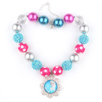 gumball beads - Frozen Chunky Necklace Princess Elsa Pendants Handmade Rhinestone Beads Polka Dot Beads Clear Gumball Beads