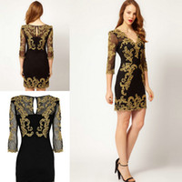 Wholesale 2013 HOT New Women s Fashion Evening Party Heavy gold thread embroidery sexy deep V neck Dubai Arabic Elegant Slim Women s Work Dresses