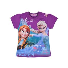 Wholesale In Stock New arrival Frozen elsa anna girl girls princess short sleeve T shirt top snow queen cartoon cotton Tees t shirt colors