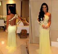 Cheap Gorgeous Yellow Lace Chiffon Mermaid Prom Dresses Sexy Sweep Train One Shoulder Backless Long Sleeve Formal Evening Dress Celebrity Dresses