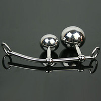 Butt Plugs Female Metal Female Anal Vagina Double Ball Plug In Steel Chastity Belts Rope Hook Bondage Sex Toy For Women Locking Chastity Belt