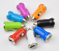 Wholesale Colorful Bullet Mini USB Car Charger Universal Adapter for iphone S S C S3 S4 S5 Cell Phone PDA MP3 MP4