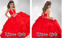 Halter Beaded Crystals Red Girls Pageant Dresses 2019 Tiered Ruffles Flower Girls Dress Rhinestones Ball Gown Ritzee Girls Holy Party Gowns