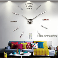 Wholesale Home decoration large digital mirror wall clock Modern design big decorative sticker wall clocks unique gifts F49