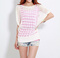 Wholesale 2014 new Spring summer new sweet candy color women loose Crochet knitted wears batwing hollow pullover sweaters topWF