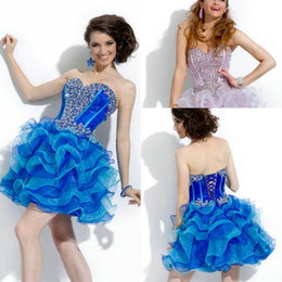 Wholesale Sparkly Sweetheart Beadwork Short Prom Pageant Ball Gowns Lace Up Backless Graduation Dresses Custom Made