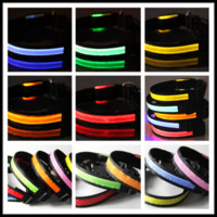 Wholesale 300Pcs cm Width Colors S M L XL led double faced pet led collar dog collar flashing dog collars dog pet dog belt TB007
