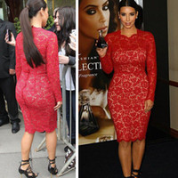 Cheap 2014 Latest Kim Kardashian Crew Neck Long Sleeve Sheath Above Knee Length Red Lace Celebrity Dresses