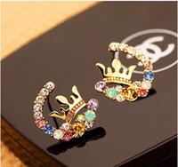 diamond earrings - Super flash small pure and fresh and colorful fish crown diamond stud earrings earrings earrings