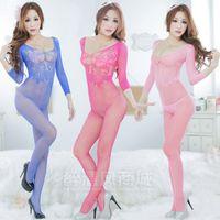 Cheap 4 Colors Sexy Women Fishnet Lace Lingerie One Piece Open Crotch Body Stocking Nightwear Clubwear 8526