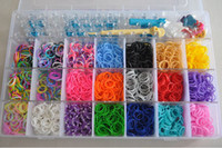 Wholesale rainbow loom kit clear plastic box for Kids DIY bracelets come with Rubber bands S clip Loom hook PVC box