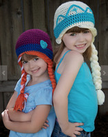 Wholesale 8 off IN STOCK Crochet hats Comfortable Soft In the latest fashion Anna elsa style FROZEN ELSA ANNA DROP SHIPPING high quality MC