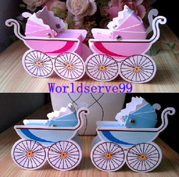 Wholesale 50PCS Wedding Favor Box Candy Sweet Holder Boxes Baby Shower Favors Gifts Pink Blue Carriage Styles