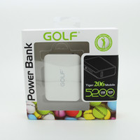 Wholesale Golf mAh Portable External Backup Battery USB Charger Power Bank for HTC LG Blackberry Sumsang Mobile Smart Phone