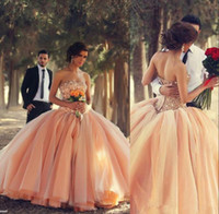 Wholesale Elegant Arabic Celebrity Dress Sexy Strapless Floor Length Ball Gown Crystal Beaded Peach Organza Evening Prom Dresses New