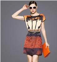 Wholesale 2014 Women s Clothes Lady s Fashion High end print dress Women s Slim Short Sleeve Dress S0610