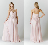 affordable bridesmaid gowns - Halter Strap Blush Pink Chiffon Bridesmaid Dresses Cheap Under Ruched Backless Bodice Floor Length Affordable Wedding Guest Gowns