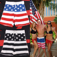 Men's Star- Spangled Flag Beach Swim Shorts With Protective N...