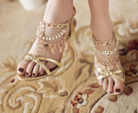 Wholesale Summer Spring Sandals For Women Korean Style Qaulity Sparkling Ladies Sandal Rhinestone Pearl Sheep Fur Leather High Heel Shoes Gold C2377