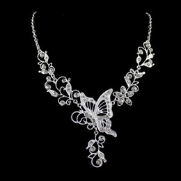 Wholesale Fashion Bridal Jewelry Sets Silver Color Leaf Hollow out Butterfly Necklace and Flower Dangle Earrings for Wedding Dress