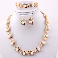 Wholesale fashion christmas gifts african jewellery set k gold plated women bridal pearl jewelry sets