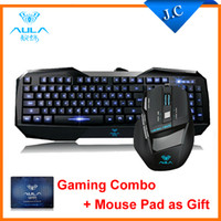 Wholesale AULA SHZ Professional Light Emitting Backlit USB Wired Key Gaming Keyboard D Games Mouse Combos for DOTA Mouse Pad