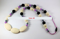 Wholesale MIX COLOR RETAIL Silicone Teething Necklaces Fashion Jewels Baby Chew Necklaces BPA Free Silicone Beads