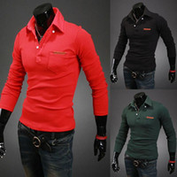 Cheap free shipping retail spring autumn slim popular solid color long sleeve 5 colors M L XL XXL man's Casual polo T-shirt YL01-T09