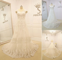 Cheap Ivory V Neckline Short Cap Sleeves A-line Embroidery Tulle Appliques Lace Chapel Train Wedding Dresses Bridal Gowns