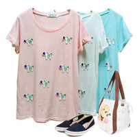 Cheap European Style Girls Cute Short Sleeve Cotton T-Shirts Free Shipping New 2014 Summer 3D Embroidery Casual Blouses For Women T708