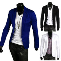 Wholesale S5Q New Stylish Men s Casual Slim Fit One Button Suit Blazer Coat Jackets AAACQA