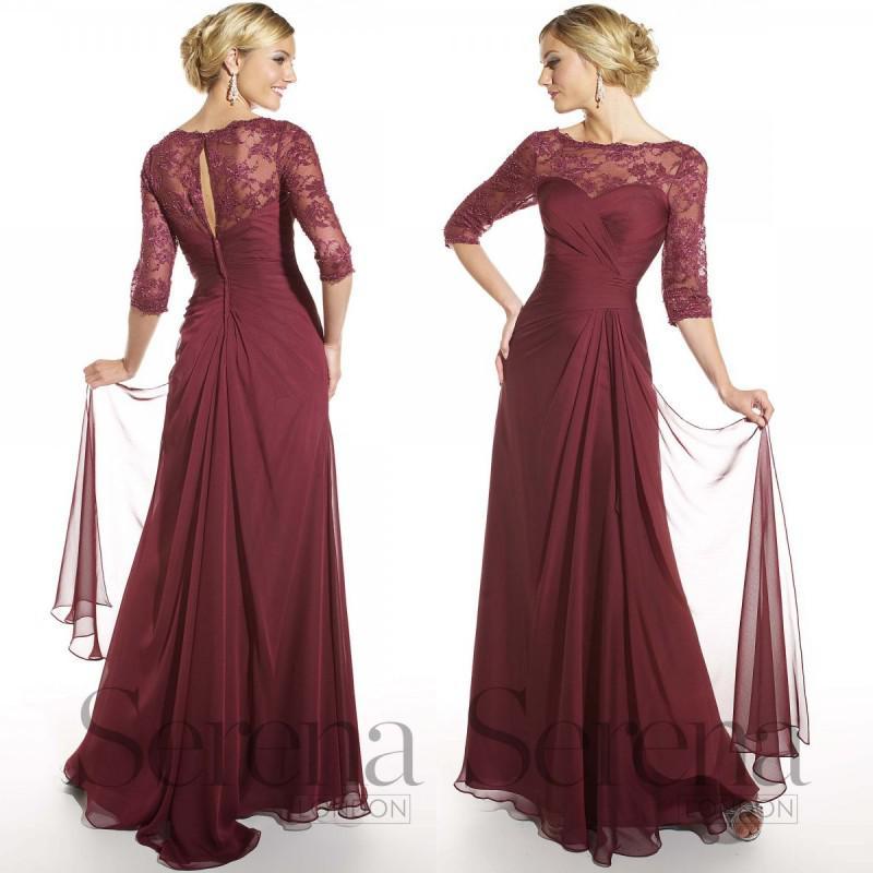 2015 Elegant Maroon Mother Dresses Scoop Neckline 3/4 Long Sleeves ...