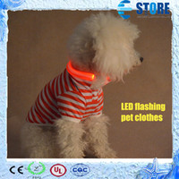 Wholesale New Stripe design LED Flashing Pet Apparel Clothes with Collar for Dog colors Good Quality wu