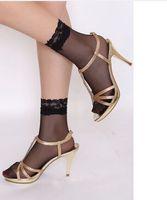 Wholesale Beautiful Transparent Silk Black Lace Socks Silk Hosiery Women Socks for Summer pairs WZ1405
