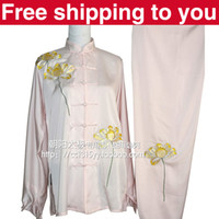 Wholesale Chinese Tai chi clothing taiji sword set wushu morning exercise performance suit lotus embroidery men women children boy girl