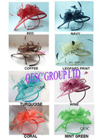 Wholesale HOT Sinamay Fascinator hat in SPECIAL Shape with Feather for wedding church races party colors