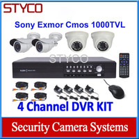 Wholesale Channel DIY CCTV Security systems channel D1 DVR and TVL Day and night Camera support free Apps remote Viewing